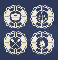 retro marine label set - lifebuoy with anchor vector image
