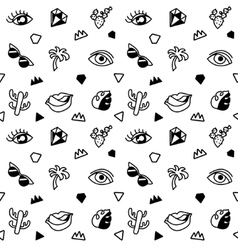 Seamless black and whight pattern with fashion vector image vector image