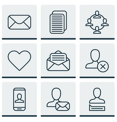 Set of 9 social network icons includes ban person vector