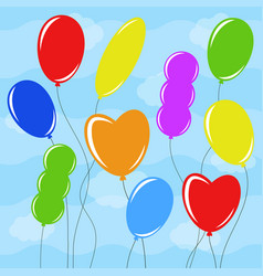 set of flat colored isolated balloons of vector image
