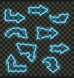 set of glowing blue neon arrows vector image