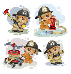 Teddy bear firefighter with rescue equipment vector