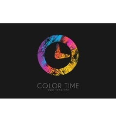 Time logo Color time logo design Clock design vector image