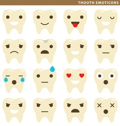 Tooth emoticons vector image vector image