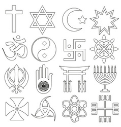 World religions symbols set of outline icons eps10 vector