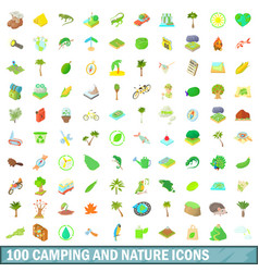 100 camping and nature icons set cartoon style vector image