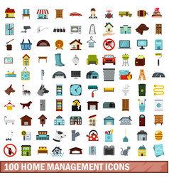 100 home management icons set flat style vector