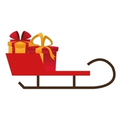 Single sleigh with gifts icon vector