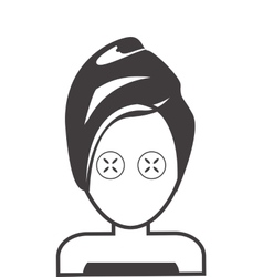 Face of woman with towel and cosmetic mask icon vector