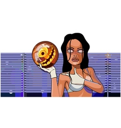 Cartoon woman stands with ball for bowling vector