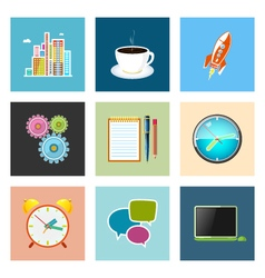 Set of colorful business icons team work vector