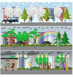 Set of weather concept posters banners in vector