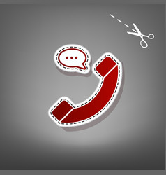 phone with speech bubble sign  red icon vector image