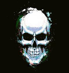 Skull artistic splatter light blue n green vector