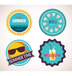 Set of four retro labels for summer sale vector