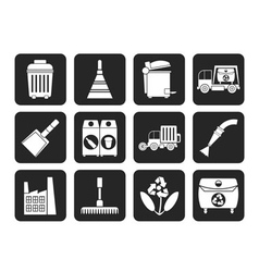 Silhouette cleaning industry and environment icons vector