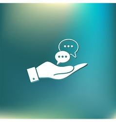 Hand holding a cloud of speaking dialogue vector