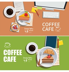 Coffee cafe banner flat design element vector
