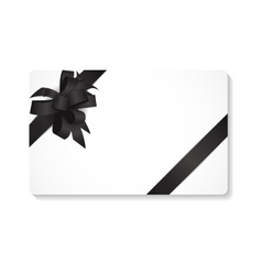 Gift card with black bow and ribbon vector