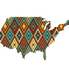 Usa map patterned in native american texture vector