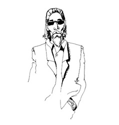 man with long hair and glasses vector image