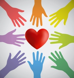 Many colorful hands surrounding a red heart vector
