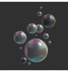 Transparent Bubbles on Dark Background vector image