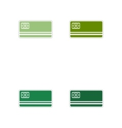 Set of paper stickers on white background bank vector