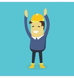 Happy builder in helmet vector