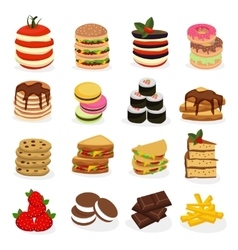 Meal tower icon set vector
