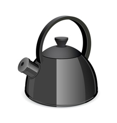 An isolated black tea kettle on a white background vector image vector image