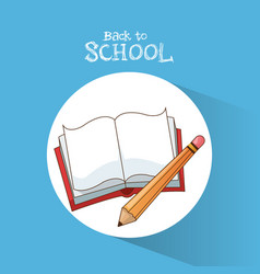 Back to school book pencil learning write poster vector