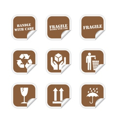 Brown fragile stickers vector image vector image