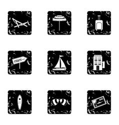City miami icons set grunge style vector