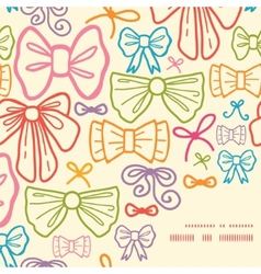 Colorful bows frame corner pattern background vector