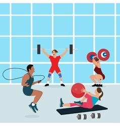 Gym people workout together fitness center vector