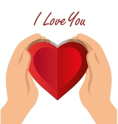 I love you hand hold heart with shadow icon vector