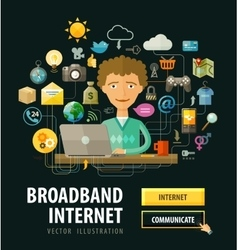 Internet online logo design template vector