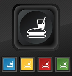 Lunch box icon symbol set of five colorful stylish vector