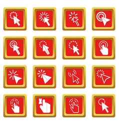 Mouse pointer icons set red vector