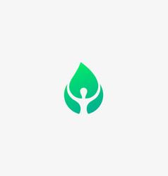 person leaf logotype human eco logo vector image