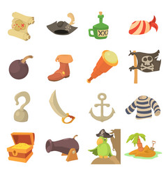 pirate culture symbols icons set cartoon style vector image