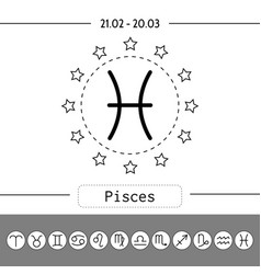 pisces signs of zodiac flat linear icons for vector image vector image