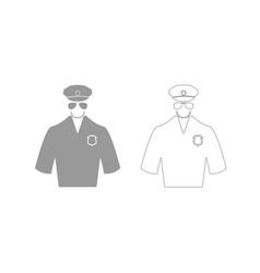 Police grey set icon vector
