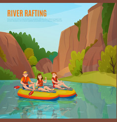 River rafting outdoor composition vector