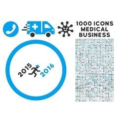 Run to 2016 year icon with 1000 medical business vector