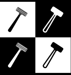 Safety razor sign black and white icons vector