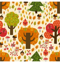 Seamless autumn pattern with trees vector image