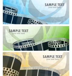set of banners with film reel vector image