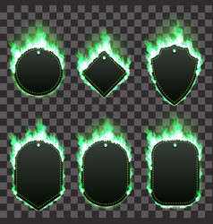 set of six frames surrounded with green flame vector image vector image